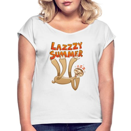 Sleepy sloth yawning and enjoying a lazy summer - Women's T-Shirt with rolled up sleeves