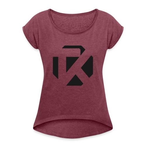 Logo TK Noir - T-shirt à manches retroussées Femme