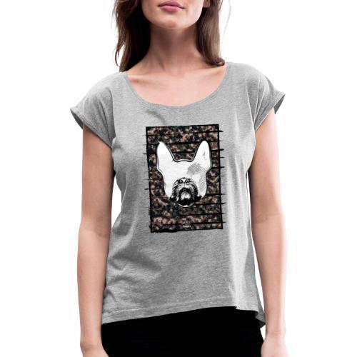 Französische Bulldogge Camouflage Silhouette - Frauen T-Shirt mit gerollten Ärmeln