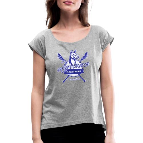 Llamas - Maastricht Lacrosse - Blauw - Vrouwen T-shirt met opgerolde mouwen