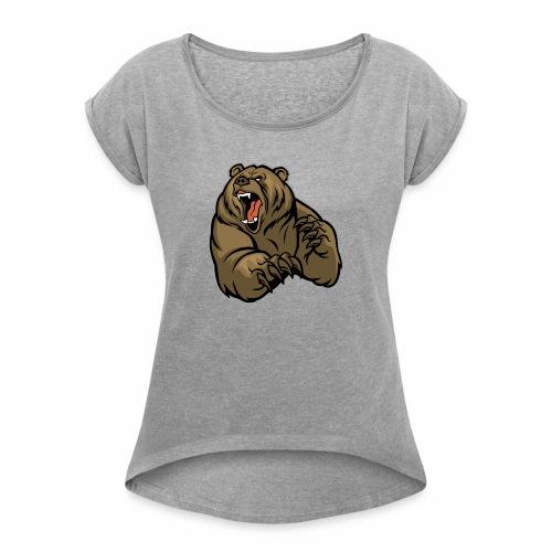 méchant grizzli - T-shirt à manches retroussées Femme