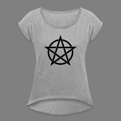 pentagramm - Frauen T-Shirt mit gerollten Ärmeln