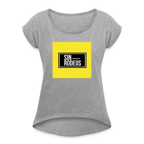 SINRODEOS T-Shirt - Camiseta con manga enrollada mujer