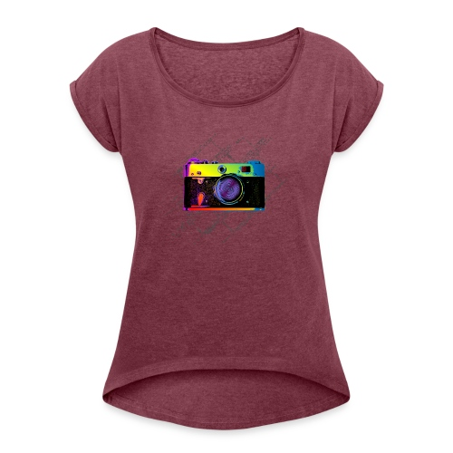 Vintage Rangefinder Film Camera Pop Art Style - Women's T-Shirt with rolled up sleeves