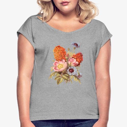 Flowers #01 - T-shirt med upprullade ärmar dam