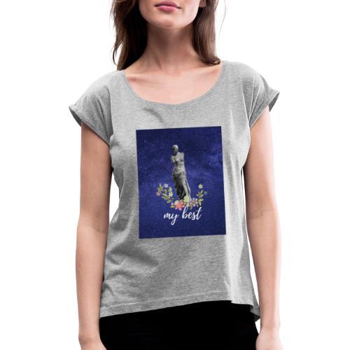 Pink and Purple Bold Life Typography T Shirt - Camiseta con manga enrollada mujer