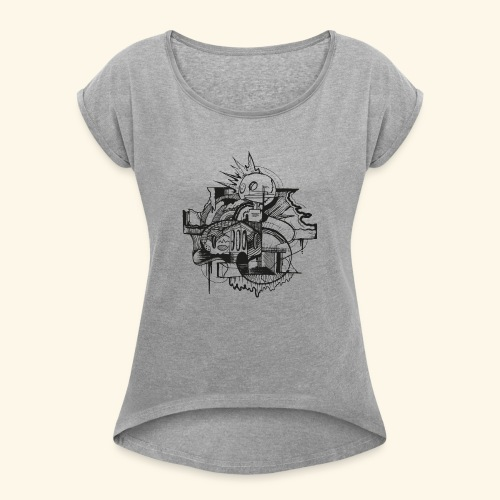 Erinnerung leben by buks.one - Frauen T-Shirt mit gerollten Ärmeln