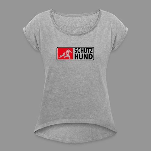 Schutzhund Logo fuer weissen Grund - Frauen T-Shirt mit gerollten Ärmeln