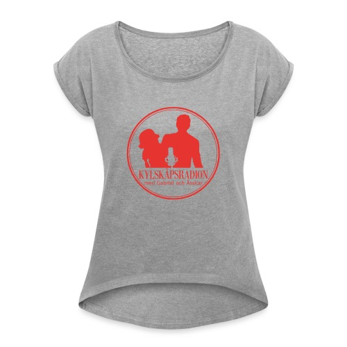 Logga helröd - T-shirt med upprullade ärmar dam