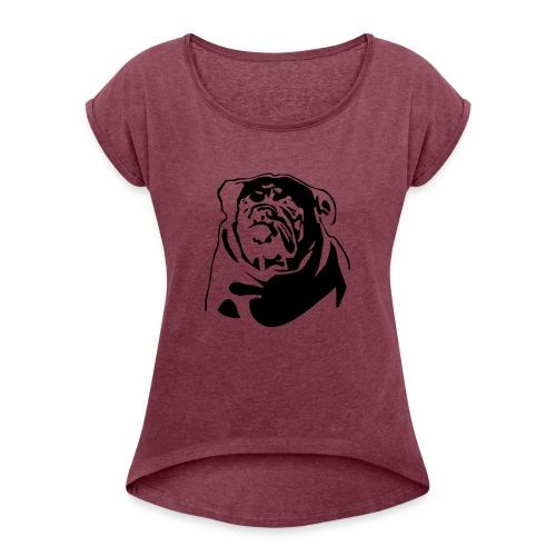 English Bulldog - negative - Naisten T-paita, jossa rullatut hihat