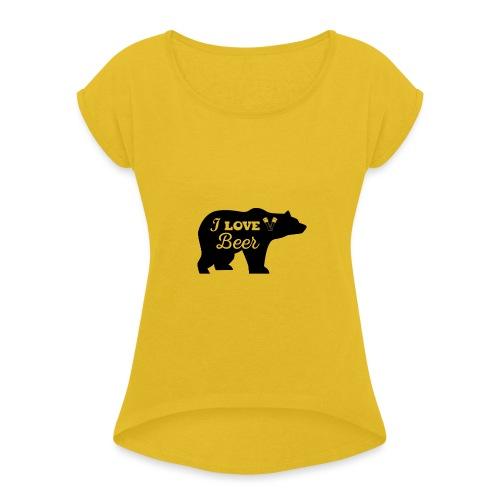 love beer - Vrouwen T-shirt met opgerolde mouwen