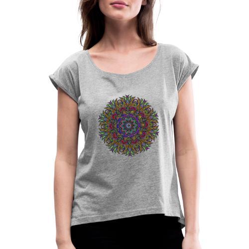mandala - Frauen T-Shirt mit gerollten Ärmeln