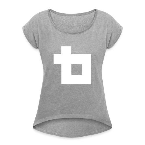 Lunatics Logga, vit - T-shirt med upprullade ärmar dam