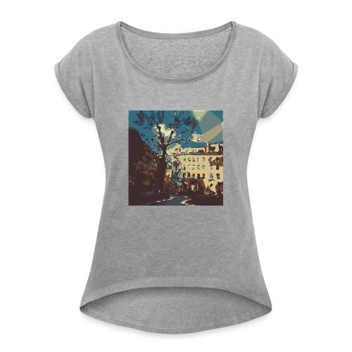 Abstrakt Budapest - Frauen T-Shirt mit gerollten Ärmeln