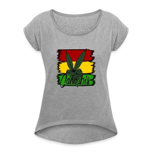 Cannabis - Dame T-shirt med rulleærmer