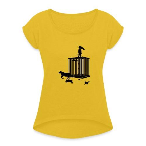 Strong Woman - Dame T-shirt med rulleærmer