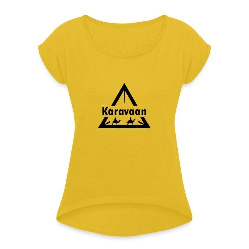 Karavaan Black (High Res) - Vrouwen T-shirt met opgerolde mouwen
