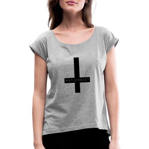 Cruz Anticristo - Camiseta con manga enrollada mujer
