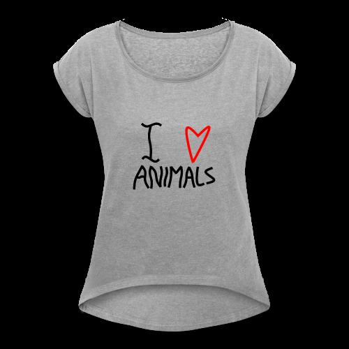 I Love Animals - Dame T-shirt med rulleærmer