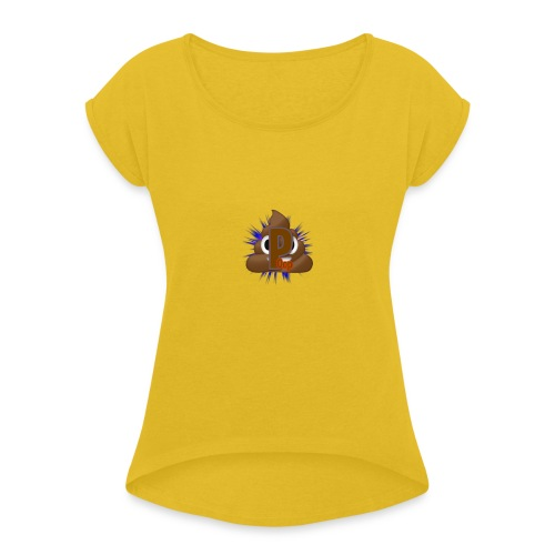 p0op Logo - Dame T-shirt med rulleærmer