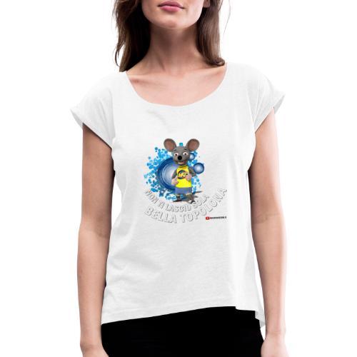 Bella Topolona testo Bianco - Maglietta da donna con risvolti