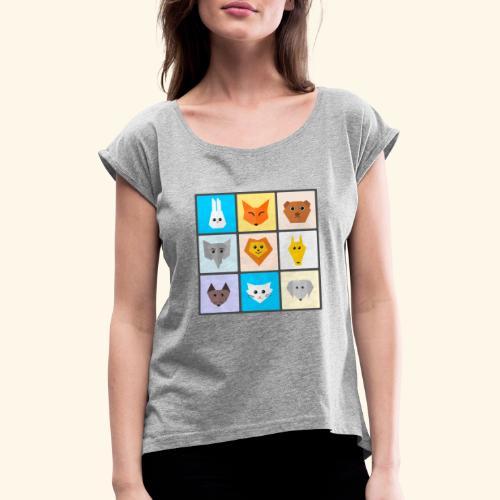 animales dibujos - Camiseta con manga enrollada mujer