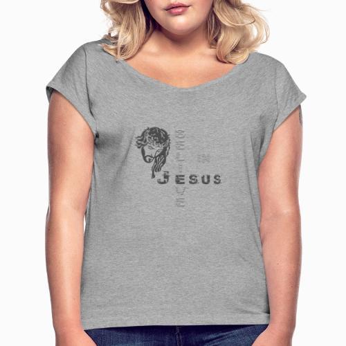 i believe in jesus grey - Frauen T-Shirt mit gerollten Ärmeln