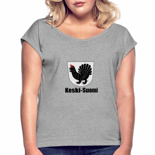 Keski-Suomi vaakuna tuote - Naisten T-paita, jossa rullatut hihat