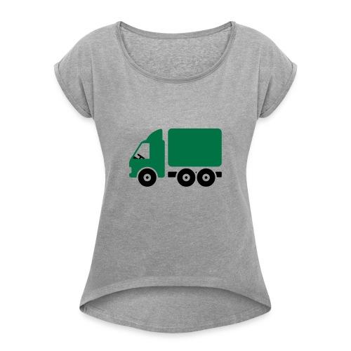 LKW Comic - Frauen T-Shirt mit gerollten Ärmeln