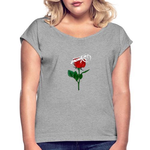 pur amour rose - Frauen T-Shirt mit gerollten Ärmeln