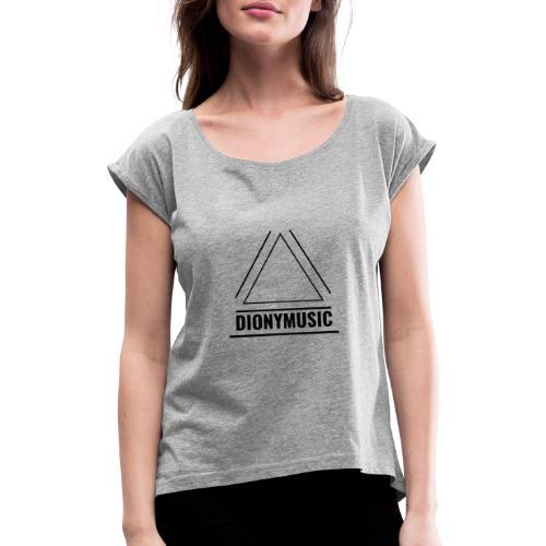 DIONYMUSIC Logo - Frauen T-Shirt mit gerollten Ärmeln