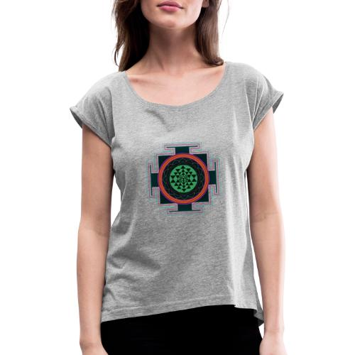 Sri Yantra Mandala - Frauen T-Shirt mit gerollten Ärmeln