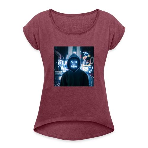 Robot Men - Vrouwen T-shirt met opgerolde mouwen