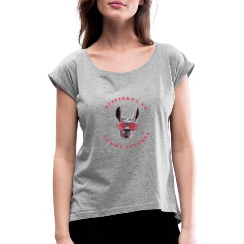 LLAMA INTERNA - Camiseta con manga enrollada mujer