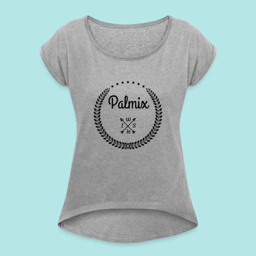 Palmix_wish camiseta mangas color - Women's T-Shirt with rolled up sleeves