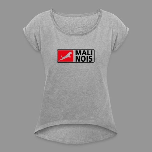 Malinois logo fuer weissen Grund - Frauen T-Shirt mit gerollten Ärmeln