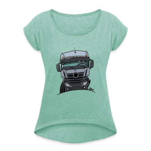 0807 M Truck grijs - Vrouwen T-shirt met opgerolde mouwen