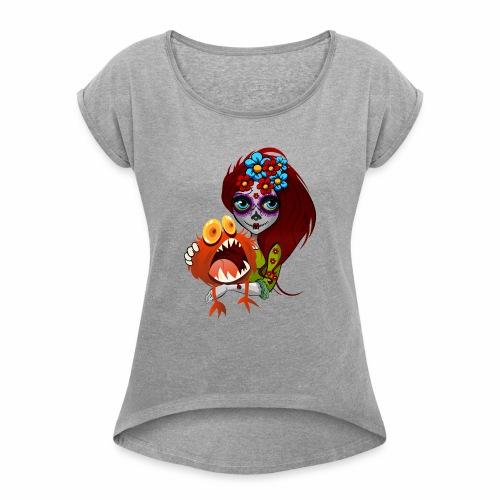 Catrina con Monstruo - Camiseta con manga enrollada mujer