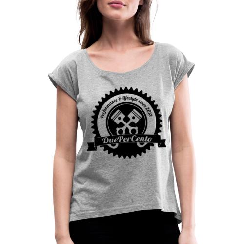 DuePerCento Logo Nero - Maglietta da donna con risvolti