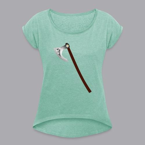 Wikinger Beil - Frauen T-Shirt mit gerollten Ärmeln