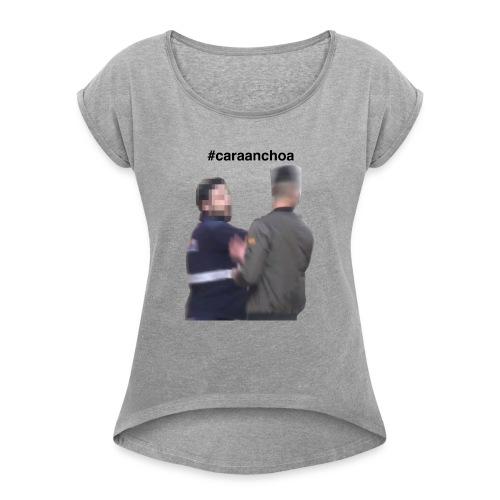 caraanchoa - Camiseta con manga enrollada mujer