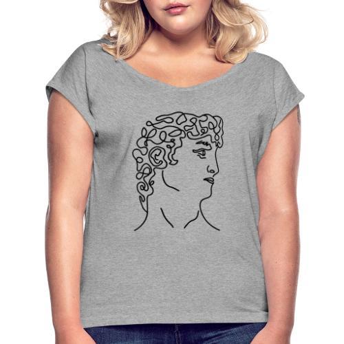 david - Camiseta con manga enrollada mujer