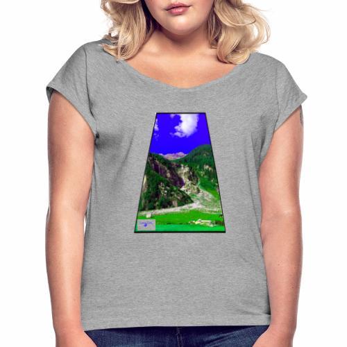 BergAUsBlick ValC - Frauen T-Shirt mit gerollten Ärmeln
