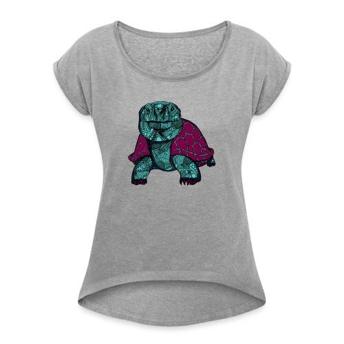 Galapagos Skilpadde - T-skjorte med rulleermer for kvinner