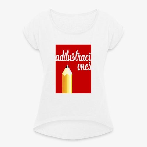 Ad ilustraciones Rojo - Camiseta con manga enrollada mujer