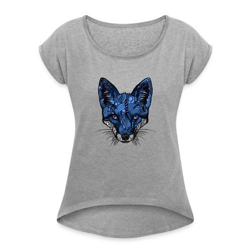 Blårev - T-skjorte med rulleermer for kvinner