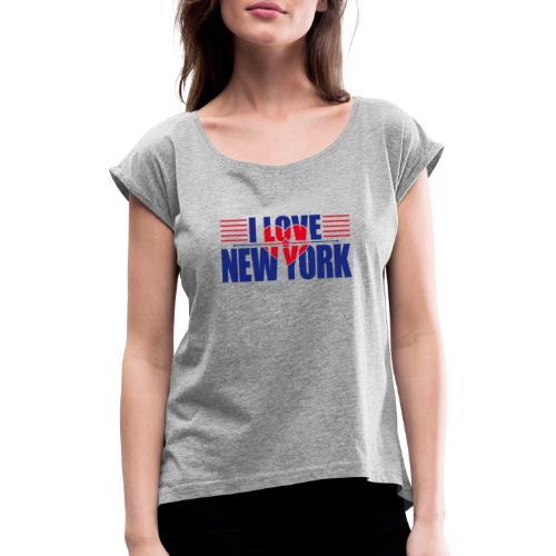 love new york - T-shirt à manches retroussées Femme