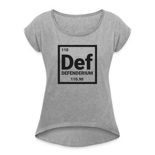 DEFENDERIUM BLACK - Vrouwen T-shirt met opgerolde mouwen