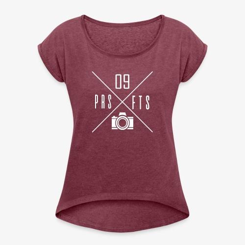 Cross weiss - Frauen T-Shirt mit gerollten Ärmeln