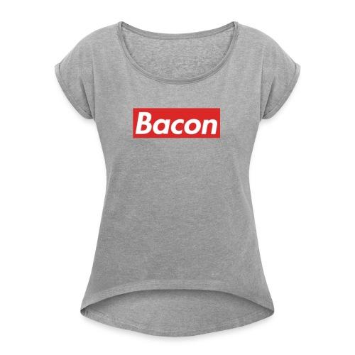 Bacon - T-shirt med upprullade ärmar dam